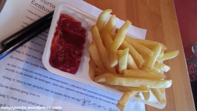 Lunch: French fries and ketchup.